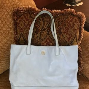 Tory Burch Baby Blue Pebbled Leather Tote